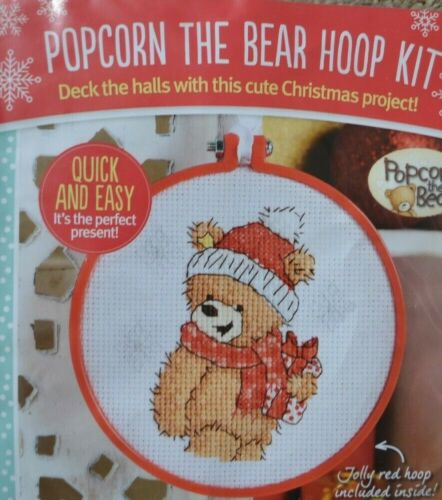 CROSS STITCH KIT  POPCORN THE BEAR WITH CHRISTMAS GIFT HANGING DECORATION HOOP