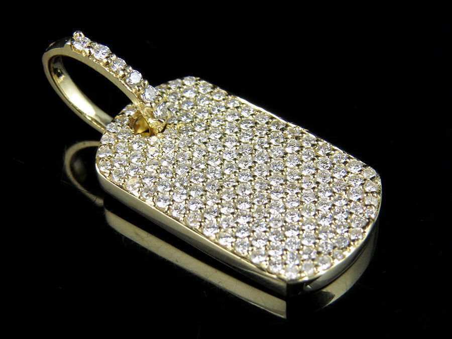Men's Solid 14K Yellow gold Military Dog Tag VS2 Real Diamond Pendant 2.0ct 1.2