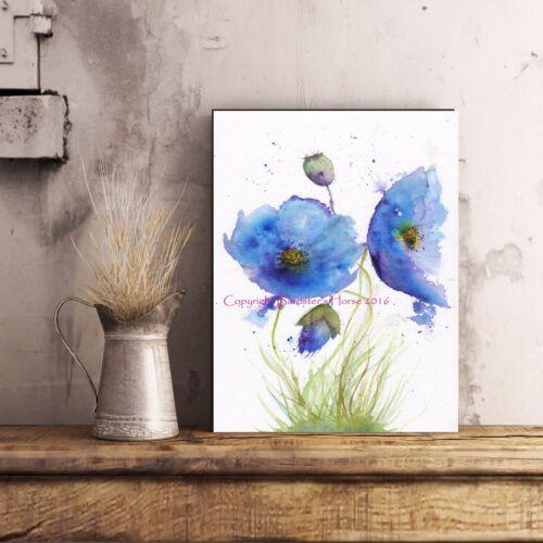 BLUE POPPIES WATERCOLOUR FINE ART//GICLEE PRINT WALL ART FLOWERS PAINTING