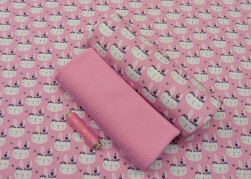 Stoffpaket Boho Bunny Kinderstoff Sommer-Sweat French Terry pink plus Bündchen