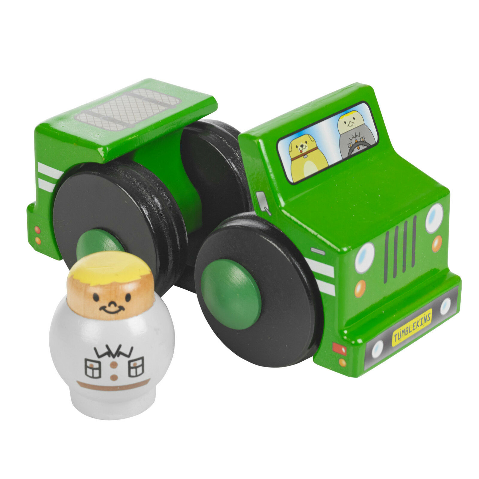 Tumblekins Off-Roader Wooden Toy Car With Figure Adventure Baby Kids Xmas Gift