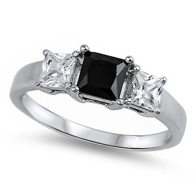 PRINCESS CUT BLACK ONYX & CZ  .925 Sterling Silver Ring SIZES 4-12