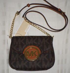 c9f47485e2f5e NWT Michael Kors FULTON Small Crossbody Bag MK Sig Logo PVC Brown ...