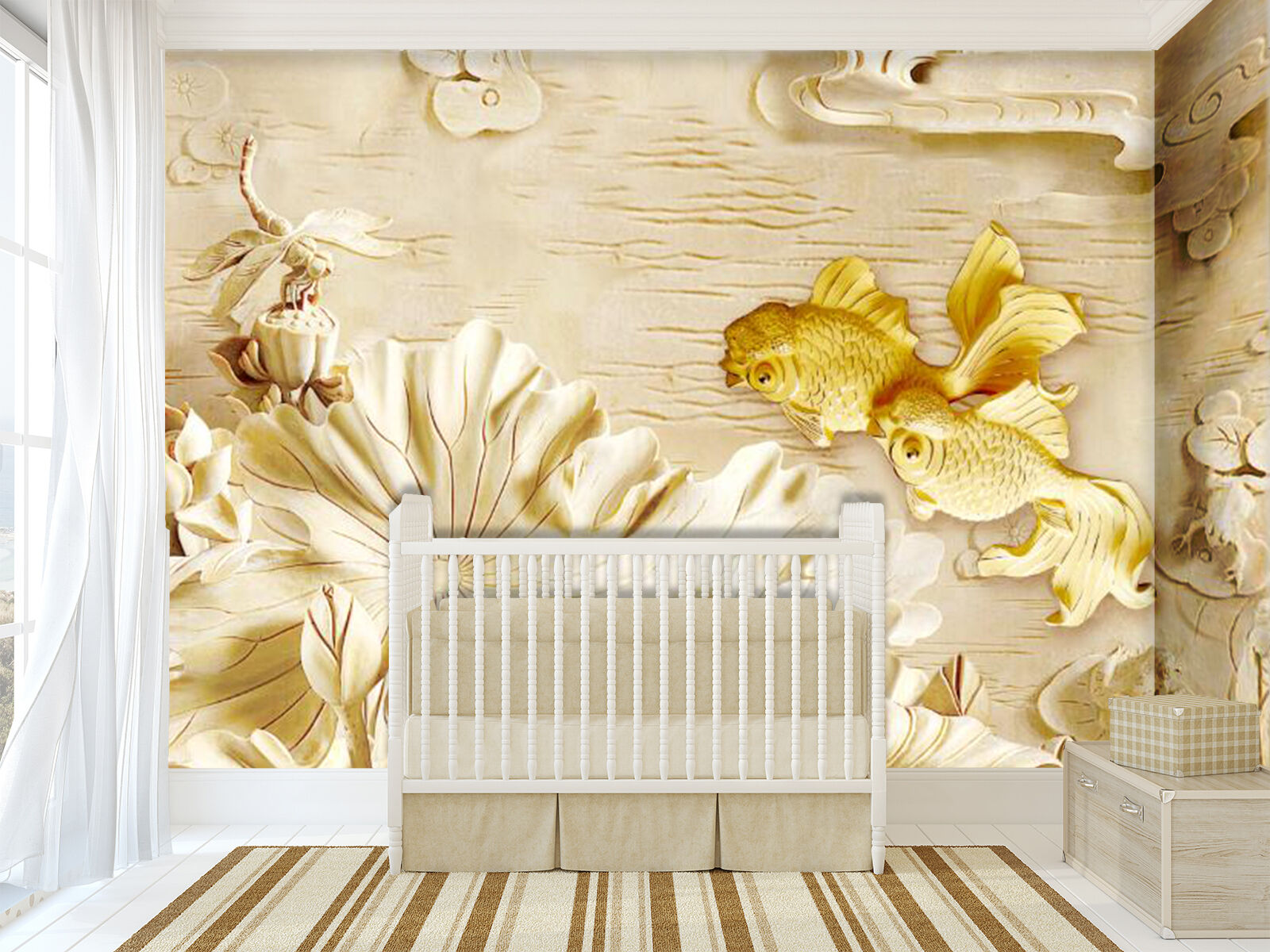 3D Lotus Pond golden Fishes Paper Wall Print Wall Decal Wall Deco Indoor Murals