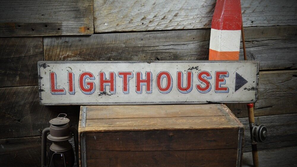 Directional Arrow Lighthouse Sign - Rustic Hand Made Vintage Wooden ENS1000163