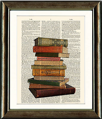 Upcycled Vintage Book Print Sewing Room Decor Punk Art Altered Book Art Vintage Dictionary Print Safety Pins Print