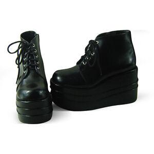 Schwarz Steam Punk Gothic Rock Shoes Plateau Schuhe Damen Platform