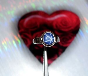 925-Sterling-Silver-Natural-6-8-Ct-Oval-Star-Blue-Sapphire-Unisex-Gemstone-Ring