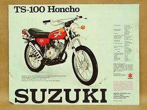 vtg suzuki ts 100 honcho tc 100 blazer motorcycle brochure flyer rh ebay com suzuki tc 100 service manual 1972 Suzuki TM 250