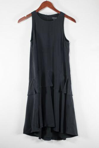 XXS Black Silk Ruffle Dress Lightweight Layered Lace Trim Pleated Spaghetti Straps Vintage 1960s Party Dress