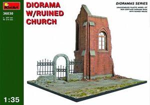 Miniart Ruines Diorama W/ Ruiné Church Eglise 1:3 5 Kit De Montage 36030 Avoir Une Longue Position Historique