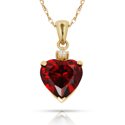 3.07CT Garnet Heart Shape Gemstone Charm Pendant /& Necklace 14K Yellow Gold