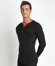 $80 2XIST Mens LONG SLEEVE HENLEY SHIRT Black Solid Cotton 5 Button UNDERSHIRT M