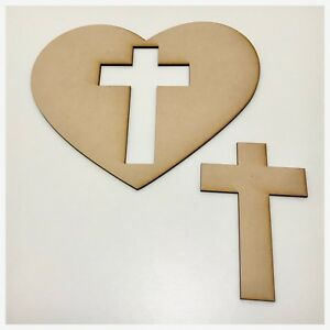 Heart Cross Plain Raw Cut Out Timber Mdf Craft Art Diy Raw Wooden