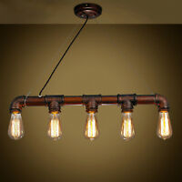 Industrial Steampunk Hanging Ceiling Lamp Iron Pipe Fixture Pendant Light