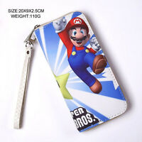 Nintendo Video Game Mario Brother Large Zipper Enclosed Pu Leather Wallet