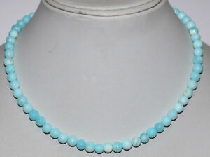925-Sterling-Silver-Blue-Opal-Gemstone-Smooth-Round-5-6mm-Beads-Jewelry-Necklace