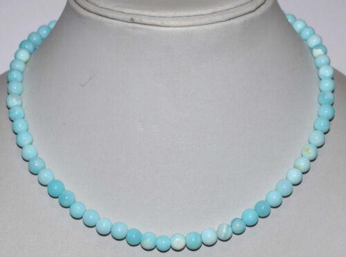925 Sterling Silver Blue Opal Gemstone lisse rond 6-7 MM PERLES BIJOUX COLLIER
