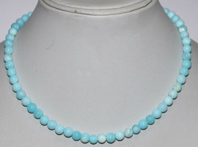 925 Sterling Silver Blue Opal Gemstone Smooth Round 5-6mm Beads Jewelry Necklace