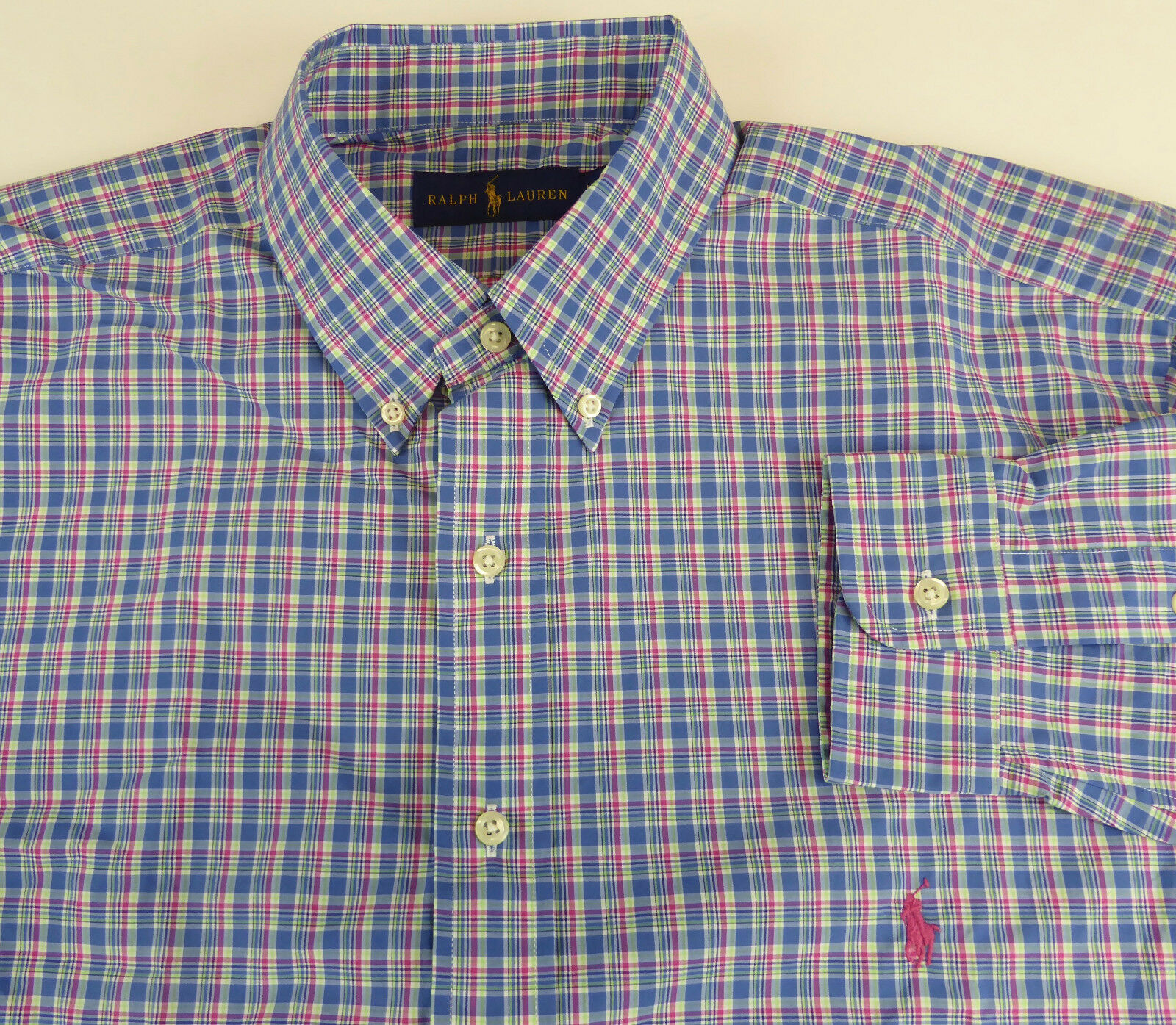 Polo Ralph Lauren Long Sleeve Poplin Cotton Shirt Plaid NWT w  Pink Pony  LT