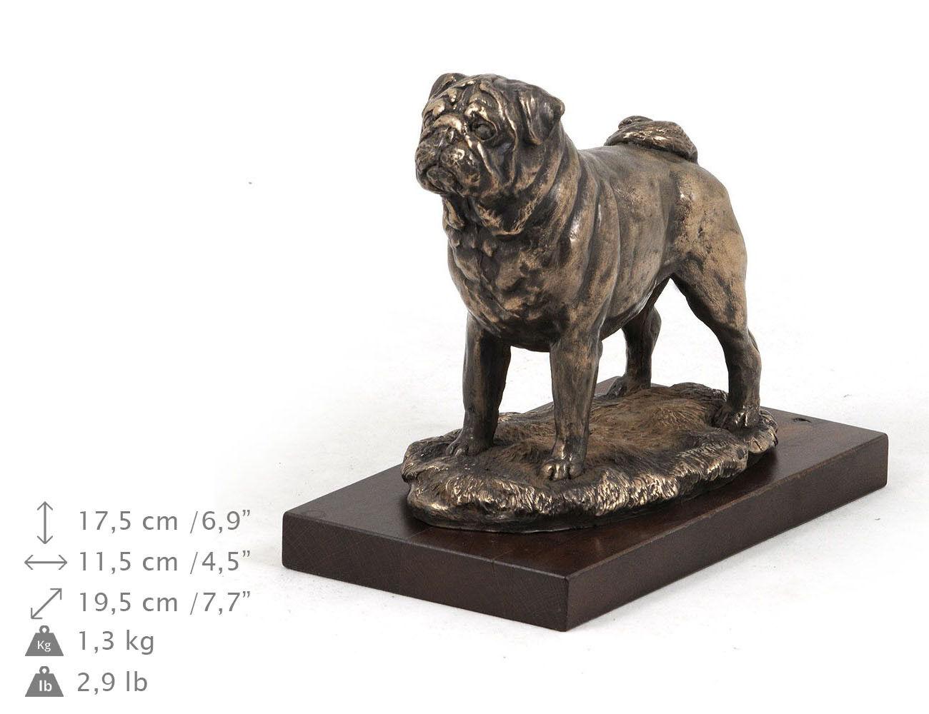 Carlino, busto estatua del perro en una base de madera, edición limitad ES