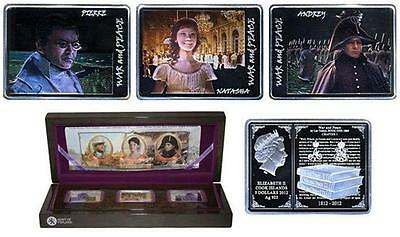 Tolstoy Silver Coin Set South Pacific Cook Islands 2012 Movie War And Peace Lev Coins: World