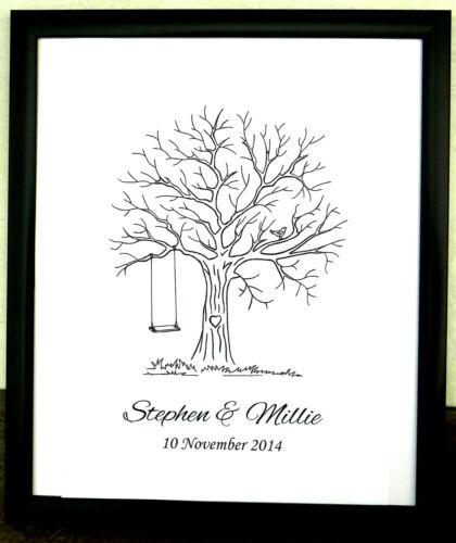 Personalised Fingerprint Tree Guest Book Wedding B-day Christening Baby Shower 7