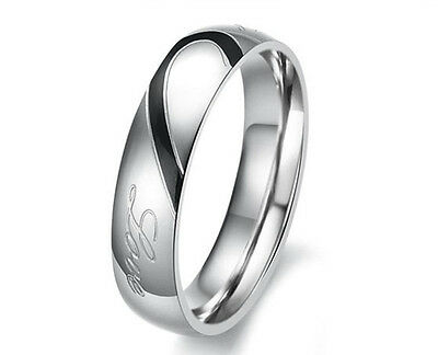 Real Love Stainless Steel Couples Heart Promise Ring Engagement Wedding Band New