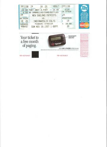 NEW ENGLAND PATRIOTS UNUSED TICKET 11-30-1997 VS INDIANAPOLIS COLTS VG COND