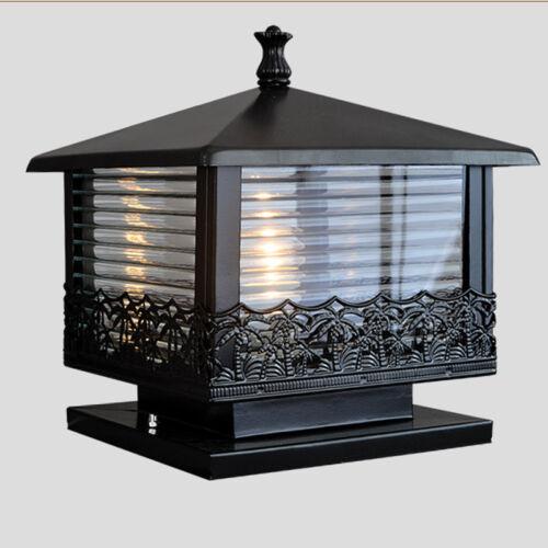 Garden Outdoor Lighting Living Gate Post Light Black Lamp Yard Vintage Lights