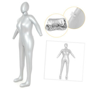 Inflatable Female Mannequin Full-Size with head /& arms Silver