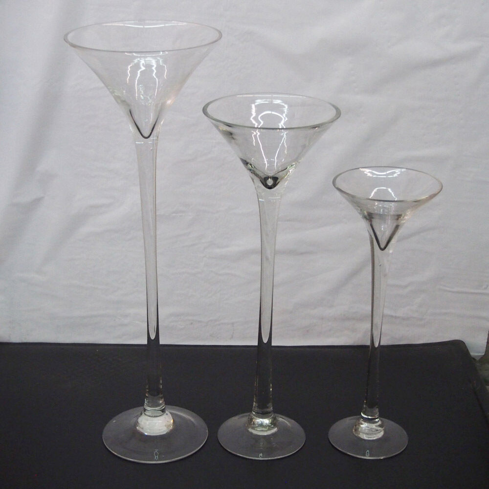 Tall Martini Glass Vase Wedding Table Centerpiece, 16  20  23  Clear