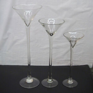"""Tall Martini Glass Vase Wedding Table Centerpiece, 16"""" 20"""" 23"""" Clear"""