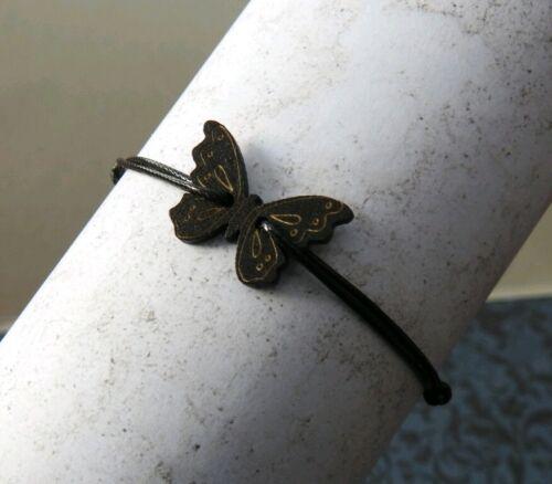 Cordón Negro Pulsera con Mariposa Retro Ajustable Negro De Madera