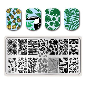 BORN-PRETTY-Nail-Stamping-Template-Summer-Fruit-Leaf-Crane-Nail-Art-Image-Plates