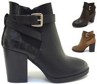 WOMENS LADIES MID HIGH HEEL CHELSEA LOW ZIP ANKLE BOOTS CHUNKY BLOCK SHOES SIZE