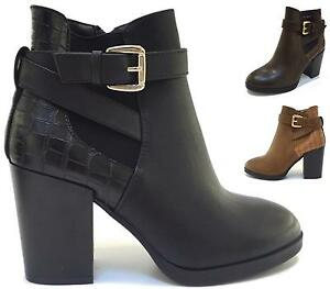 WOMENS-LADIES-MID-HIGH-HEEL-CHELSEA-LOW-ZIP-ANKLE-BOOTS-CHUNKY-BLOCK-SHOES-SIZE