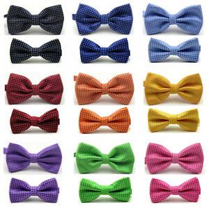 Men-Boys-Kids-Bow-Tie-Party-School-White-Polka-Dots-Adjustable-Bowties-Set