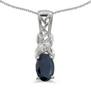 10k-White-Gold-Oval-Sapphire-And-Diamond-Pendant-with-18-034-Chain