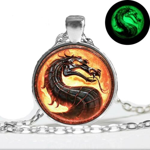 UK GLOW IN THE DARK FIRE DRAGON NECKLACE Silver Jewellery Gift Gothic Fantasy