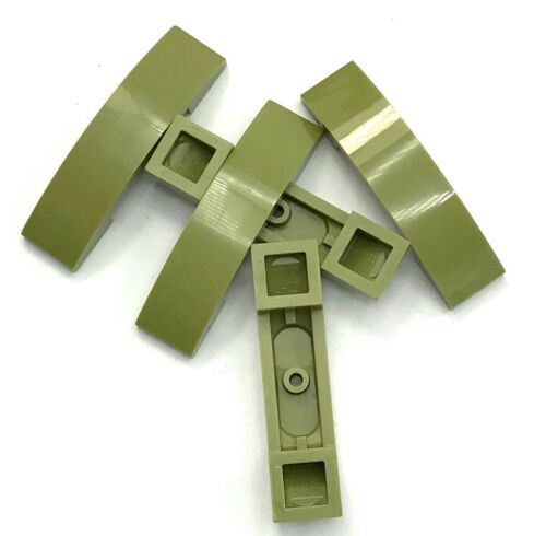 Lego 5 New Olive Green Slopes Sloped Curved 4 x 1 Double No Studs Pieces