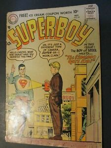 DC-Comics-Superman-w-Quiz-Kid-1957-Vintage-Old-Comic-collection