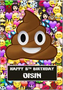 Detalles De Tarjeta De Cumpleaños Emoji Caca Poo A5 Propio Texto Personalizado Ver Título Original