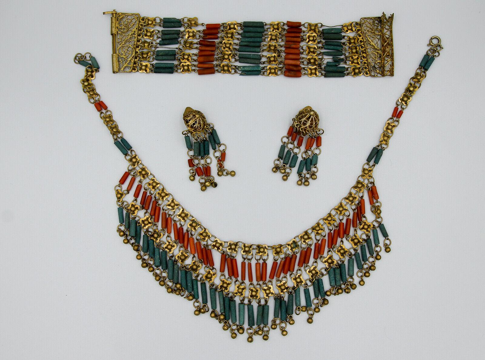 Egyptian revival Bigiotteria Set C.1920's C.1920's C.1920's corallo e faux turchese e13d9c