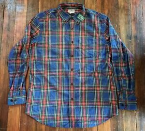 LL-BEAN-Mens-Large-Flannel-Shirt-Scotch-Plaid-Slightly-Fitted-NWT-NEW