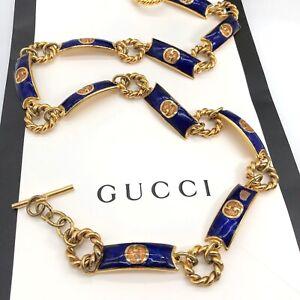 Gucci-Authentic-Vintage-80s-GG-Logo-Chain-Link-Belt-Gold-Blue-28-US-XS-Rare
