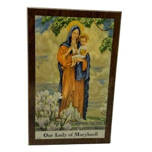 PYRAGLASS-VINTAGE-OUR-LADY-OF-MARYKNOLL-WOODEN-PLAQUE-4-X-6-5-MADONNA-CHILD