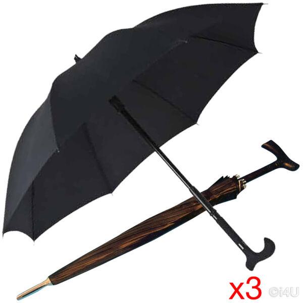 3 X Palo Paraguas 16 Costillas El Bastón – Negro Lluvia Cubierta Completa De Servicio Pesado-ver