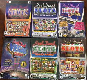 Lot-of-6-PC-Slots-Machine-Games-Reel-Deal-Blackbeard-Nickel-Alley-Ghost-Town