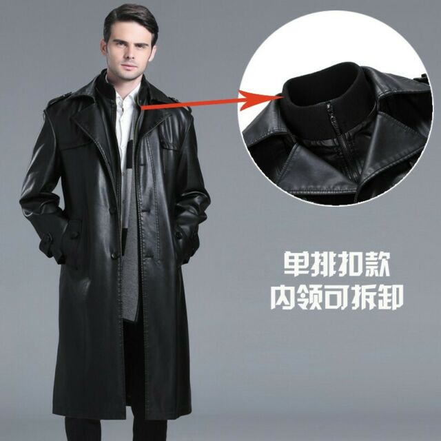 Mikkar Fashion Mens Autumn Winter Leather Zipper Double-Breasted Suit Outwear Top Coat